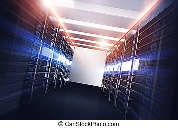 Datacenter Servers Alley Concept 3D Illustration. Powerful...