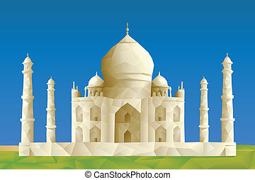 Taj Mahal illustration in triangular pattern style