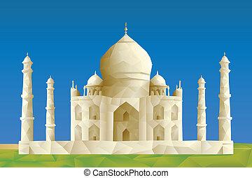 Taj Mahal illustration in triangular pattern style