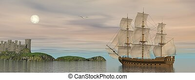Back home - 3D render - Beautiful detailed old merchant ship...