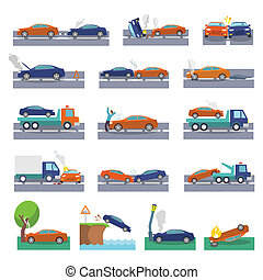 Car crash icons - Car crash and accidents icons set with...