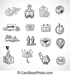 Logistic Hand Drawn Icons Set - Logistic shipping freight...