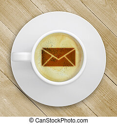 Picture of the mail in the coffee foam - Cup of coffee...