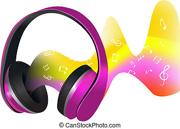 Headphones and soundwaves - Headphones with colored...