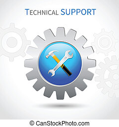 Technical support icon - Technical support toothed ring with...