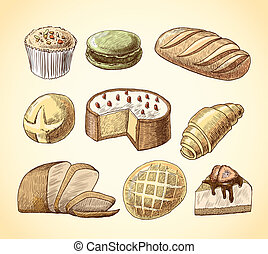 Pastry and bread decorative icons set - Puff pastry macaron...