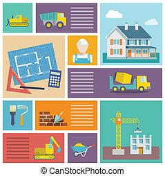 Construction icons set - House plan and building...