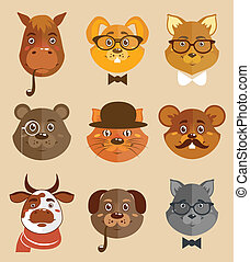 Animal hipsters icons