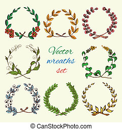 Hand drawn wreaths colored set - Sketch colored hand drawn...