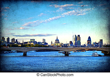 London - Panorama of London, Waterloo Bridge and skyscrapers...