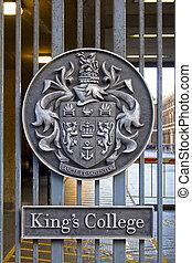 London - Honorific emblem on the entrance gate of King's...