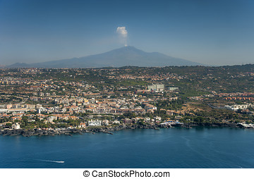 catania from above - catania town from above, sicily, italy