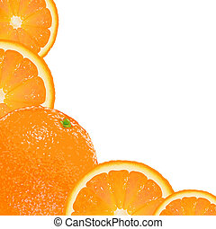 Orange Fruit Frame, Isolated On White Background, Vector...