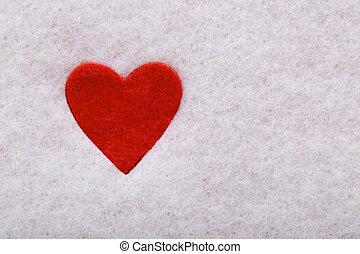Felt heart - Red felt heart in white felt background