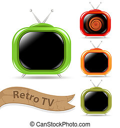 Retro Tv Set - 4 Color Retro Tv With Antenna, Isolated On...