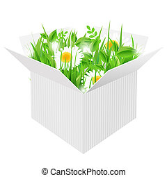 White Box With Grass, Isolated On White Background, Vector...