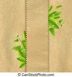 Old Paper With Green Leaves With Gradient Mesh, Vector...