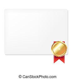 medalla, y, blanco, regalo, etiqueta,