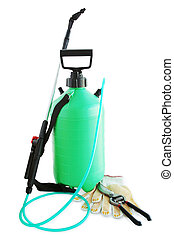 Garden sprayer to kill harmful insects, gloves and secateurs