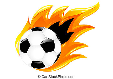 Two Soccer Balls - Soccer Ball And Burning Soccer Ball,...