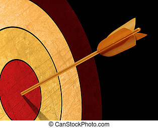 Hitting targets - Illustration of a golden arrow hitting its...