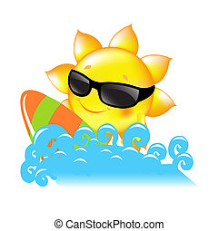 Sun And Sea - Sun With Surf Boards, Vector Illustration