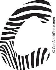 Font zebra, letter C