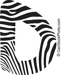 Font zebra, letter D