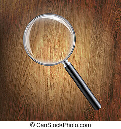 Wooden Background With Magnifying Glass