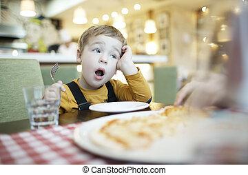 ser, alimentado, bostezando, niño, esperas, joven, él