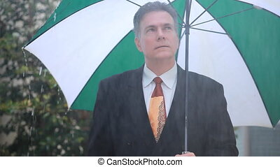 No Rain on Me - A businessman is unconcerned with the rain...