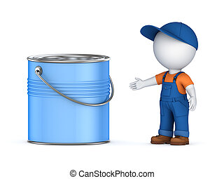 3d small person in workwear and paint canIsolated on white