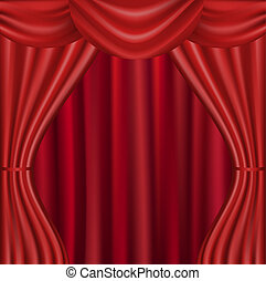 Red Curtain - Theater Velvet Curtain With Lights And...