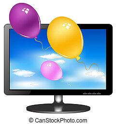 LSD, tv, monitor, com, balões,