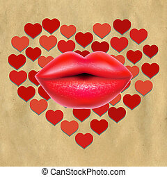 Red Lips With Hearts And Paper, With Gradient Mesh, Vector...