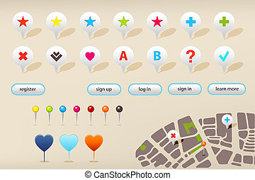 GPS Navigation Markers And Website Elements - Collection Of...