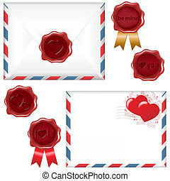 Post Love Set - 2 Envelope With A Wax Seal, Isolated On...