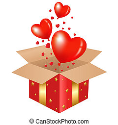 Red Gift Box With Balloons, Vector Illustration