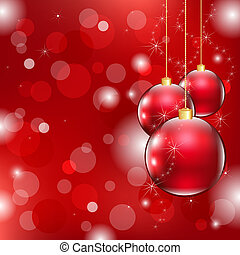 Red Christmas Background With Christmas Ball, Vector...