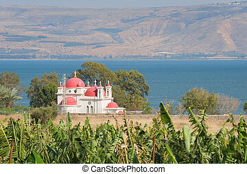 Capernaum - The greek orthodox church and the Sea of Galilee...
