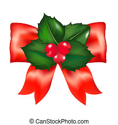 Red Bow With Holly Berry With Gradient Mesh, Illustration