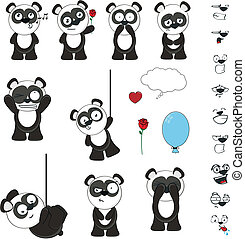 panda bear cartoon set funny in vector format