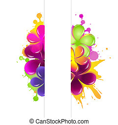 Abstract Flowers, Isolated On White Background, Vector...