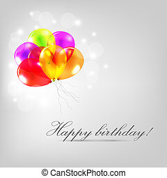 Birthday Card With Balloons And Text, Vector Illustration