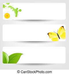 Banners With Butterfly, Isolated On Grey, Vector...