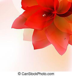 Abstract Red Tulip With Blur With Gradient Mesh, Vector...