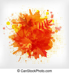 Abstract Orange With Blobs Autumn Leafs, Isolated On White...