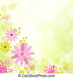 Abstract Flower Background With Leaf, Vector Illustration