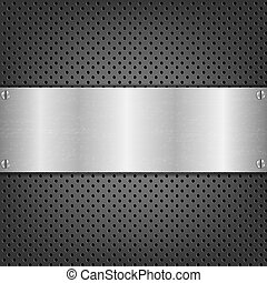 Background With Metal Plate With Gradient Mesh, Vector...
