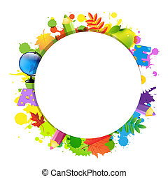 Back To School With Circle, Isolated On White Background,...